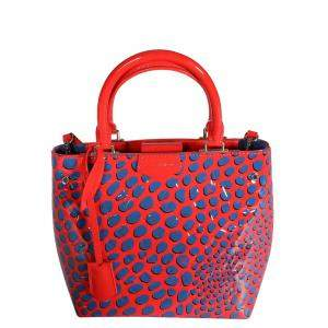 Louis Vuitton Red/Blue Limited Edition Vernis Leather Jungle Dots Tote Bag