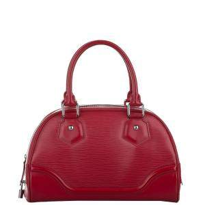 Louis Vuitton Red Epi Leather Bowling Montaigne PM Bag