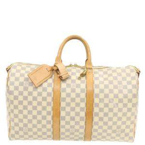 Louis  Vuitton White/Multicolor Damier Azur Keepall Bandouliere 45 Bag
