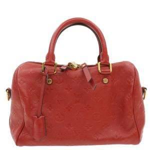 Louis Vuitton Red Empreinte Leather Speedy Bandouliere 25 Bag