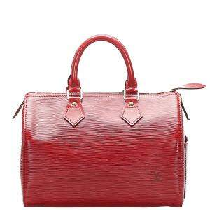 Louis Vuitton Red Leather Epi Speedy 25 Bag