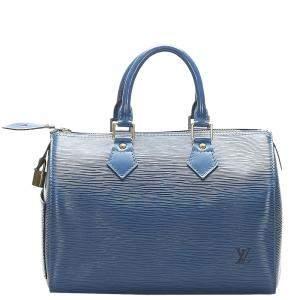 Louis Vuitton Blue Leather Epi Speedy 25 Bag