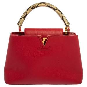 Louis Vuitton Scarlett Taurillon Leather and Python Capucines PM Bag