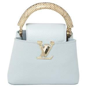 Louis Vuitton Bleu Olympe Taurillon Leather and Ayers Snakeskin Capucines Mini Bag