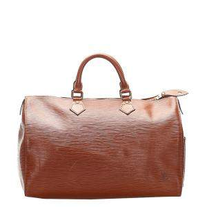 Louis Vuitton Brown Epi Leather Speedy 35 Bag