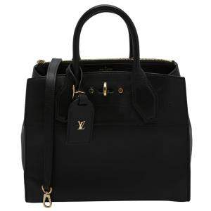 Louis Vuitton Black Leather City Steamer PM Bag