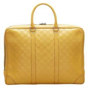 Louis Vuitton Yellow Damier Infini Leather Porte-Documents Voyage Briefcase