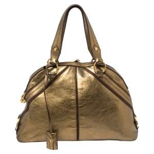 Yves Saint Laurent Metallic Bronze Leather and Suede Dome Satchel