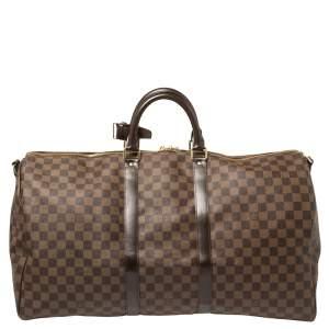 Louis Vuitton Damier Ebene Canvas Keepall Bandouliere 55 Bag