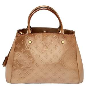 Louis Vuitton Beige Poudre Monogram Vernis Montaigne MM Bag