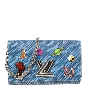 Louis Vuitton Denim Light Epi Leather Twist Limited Edition Wallet On Chain