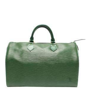 Louis Vuitton Green Leather  Speedy Satchels