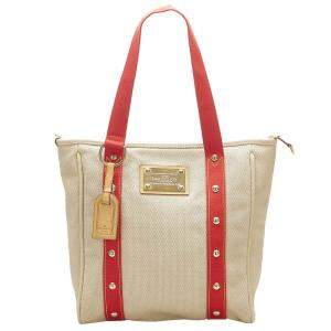 Louis Vuitton Cream/Red Canvas Antigua Cabas MM Bag