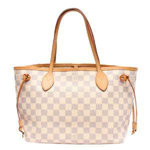 Louis Vuitton White Canvas Small Neverfull Tote Bag