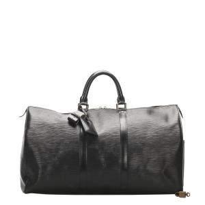Louis Vuitton Black Epi Leather Keepall 50 Bag
