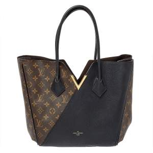 Louis Vuitton Black Leather and Monogram Canvas Kimono MM Bag
