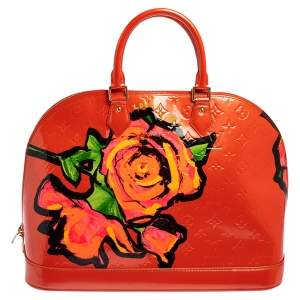 Louis Vuitton Red Monogram Vernis Limited Edition Stephen Sprouse Roses Alma GM Bag
