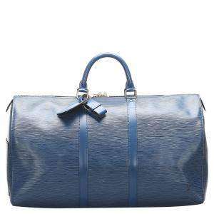 Louis Vuitton Toledo Blue Epi Leather Keepall 50 Bag