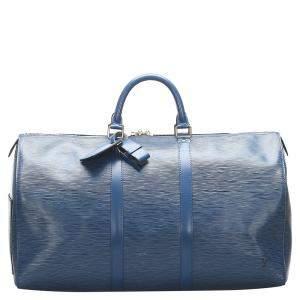 Louis Vuitton Toledo Blue Epi Leather Keepall 50 Bag