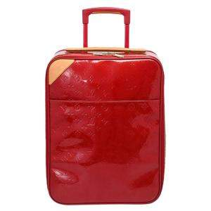 Louis Vuitton Red Monogram Vernis Pegase 45 Suitcase Bag