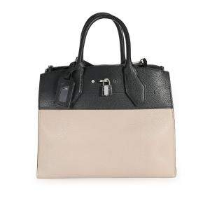 Louis Vuitton Tan and Black Leather City Steamer MM Bag