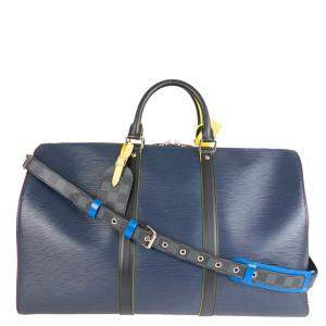 Louis Vuitton Blue Epi Leather and Damier Graphite Canvas Keepall 50 Bag
