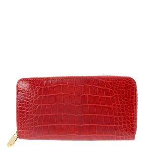 Louis Vuitton Red Exotic Leather  Zippy Wallet
