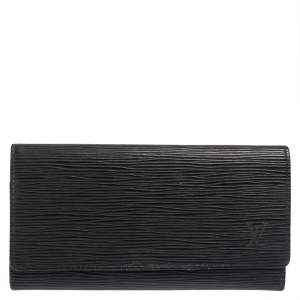 Louis Vuitton Noir Epi Leather Flap Wallet