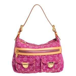 Louis Vuitton Fuchsia Monogram Denim Baggy PM Bag