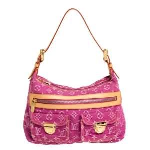 Louis Vuitton Fuchsia Monogram Denim Baggy PM Bag