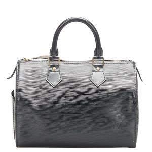 Louis Vuitton Black Epi Leather Speedy 25 Bag