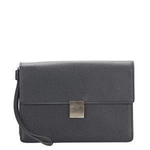 Louis Vuitton Black Taiga Leather Selenga Pochette Clutch