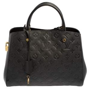 Louis Vuitton Black Monogram Empreinte Leather Montaigne MM Bag