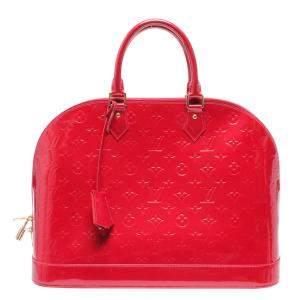 Louis Vuitton Red Monogram Vernis Leather Alma GM Satchel Bag