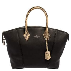 Louis Vuitton Black Leather and Python Handle Lockit MM Tote