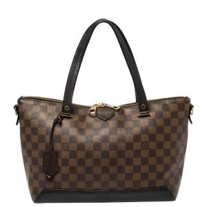 Louis Vuitton Black Damier Ebene Canvas and Cuir Taurillon Hyde Park Bag