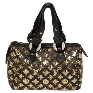 Louis Vuitton Black/Gold Monogram Canvas Limited Edition Eclipse Speedy 28