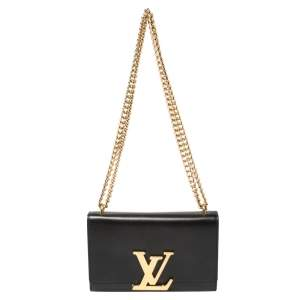 Louis Vuitton Black Leather Chain Louise MM Bag
