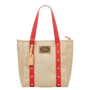 Louis Vuitton Beige/Red Canvas Antigua Cabas MM Bag