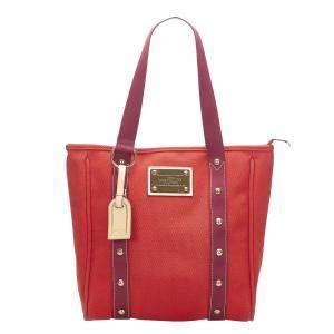 Louis Vuitton Red Canvas Antigua Cabas MM Bag