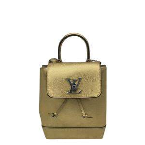 Louis Vuitton Gold Leather Mini Lock Me Backpack