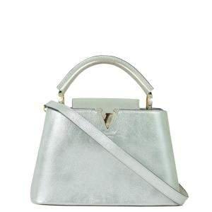 Louis Vuitton Silver Leather Capucines PM Bag
