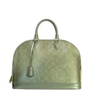 Louis Vuitton Khaki Vernis Patent Leather Alma Bag
