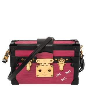 Louis Vuitton Black/Pink Epi Leather Petite Malle Bag