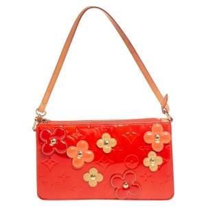 Louis Vuitton Orange Sunset Monogram Vernis Lexington Fleurs Pochette Bag