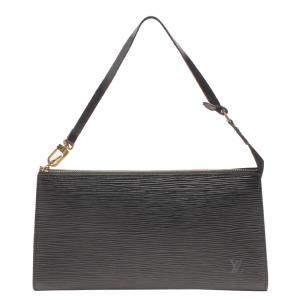 Louis Vuitton Black Epi Leather Pochette Clutch Bag