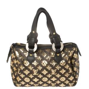 Louis Vuitton Black/Gold Monogram Canvas Limited Edition Eclipse Speedy 28 Bag