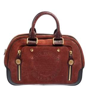 Louis Vuitton Havane Suede Limited Edition Stamped Trunk GM Bag