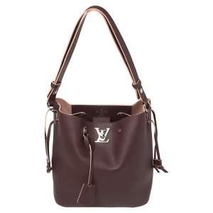 Louis Vuitton Prune Leather Lockme Bucket Bag