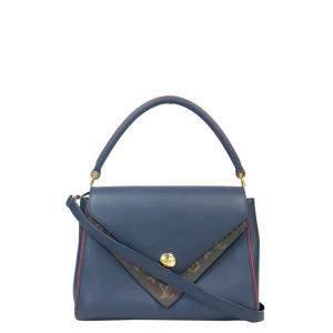 Louis Vuitton Blue Leather Double V Top Handle Bag